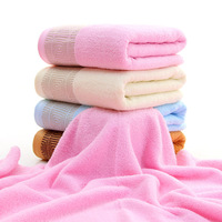 1PCS Solid Color Soft Thickening Towel Absorbent Cotton Plain Color Back To The Word Soft Bath