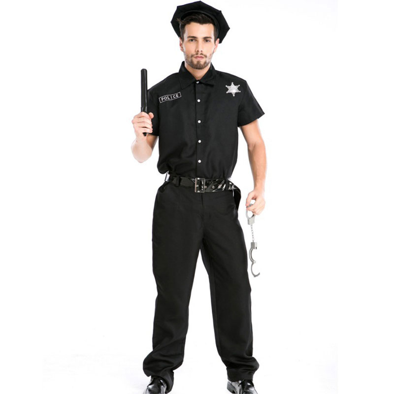 Umorden Halloween Costumes Black Adult America U.S. Cop Police Policeman Costume Uniform Set Top Pants Fancy Cosplay for Men