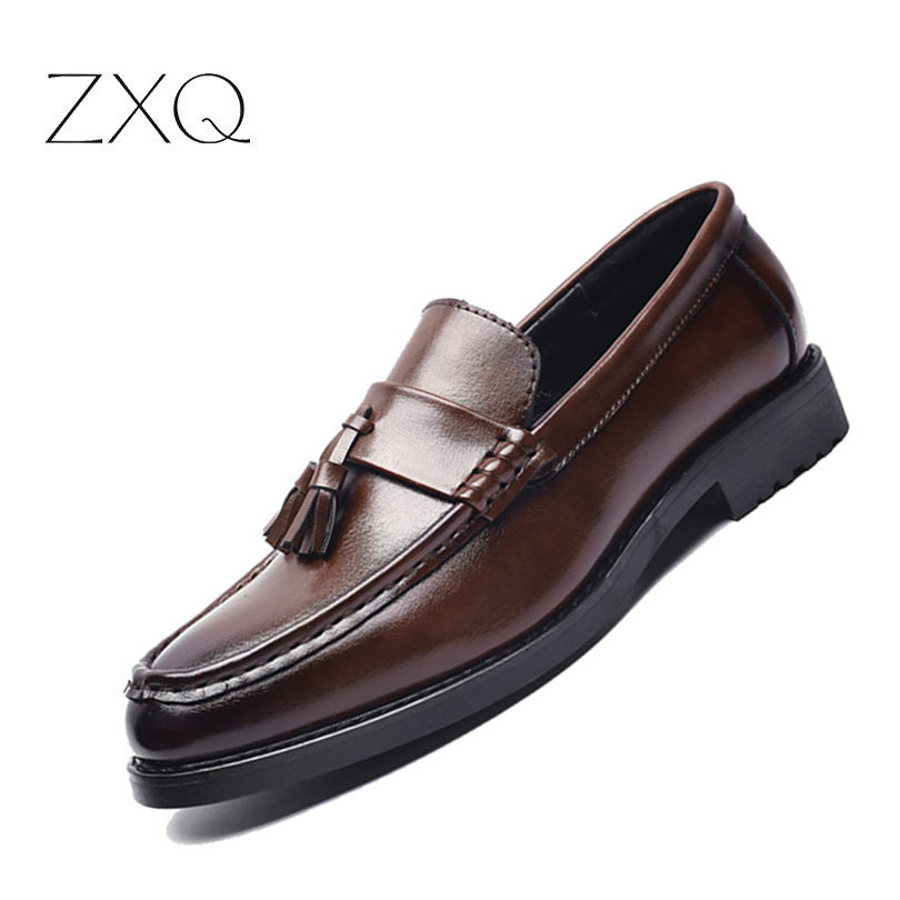 High Quality Men Leather Formal Loafers Korean Version Tassels Slip-On Driver Dress Loafers Pointed Toe Moccasin Wedding Shoes npezkgc men shoes fashion leather doug casual flat tassels slip on driver dress loafers pointed toe moccasin wedding shoes
