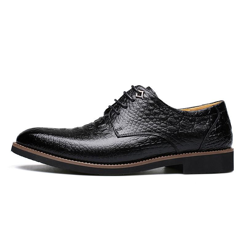 Polali Brand 2017 New Fashion Crocodile Style Men Dress Shoes High Quality Men Oxford Oxford