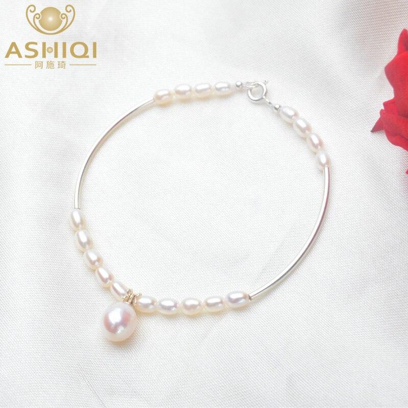 ASHIQI Genuine 925 Sterling Silver Bracelet 3-4mm Natural Freshwater Pearl Charm Bracelet For Women Gift