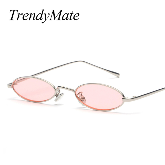 2018 Vintage Retro Small Oval Sunglasses For Men Women Gold Metal Frame Pink Clear Lens Round