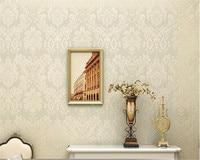 High Quality European Damascus Relief 3D Wallpaper Mural Modern Home Interior White Beige Paper Roll Papel
