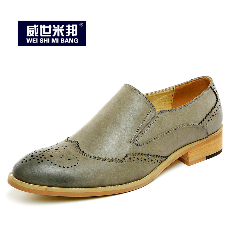 Retro Men Leather Pointed Toe Slip On Carved Brogue Shoes Business Man Dress Shoes Wedding Shoes Casual Oxford tidog the british men s casual shoes retro carved tassels pointed breathable leather shoes