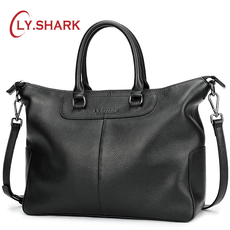 LY SHARK Genuine Leather Bag Women Shoulder Bag For Women 2018 Big Handbag Women Famous Brand