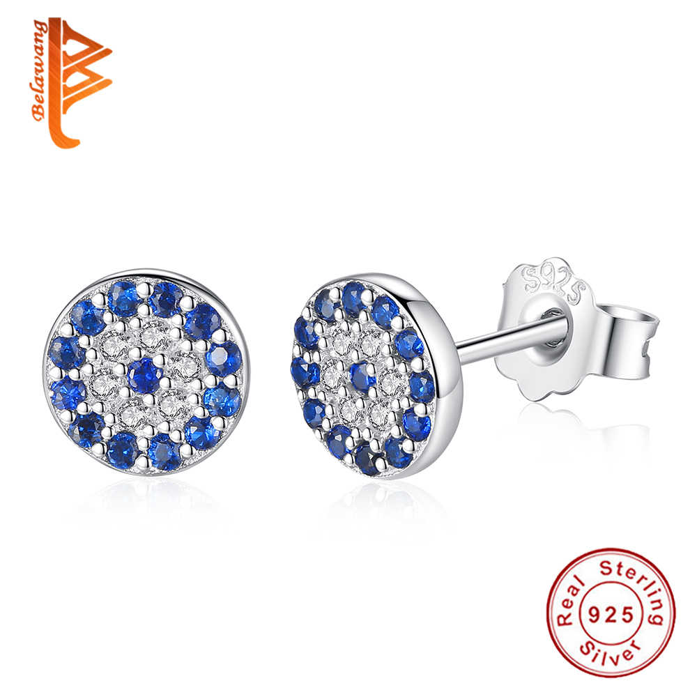 Fashion 925 Sterling Silver Blue Lucky Eye Round Stud Earrings With AAA Zircon Women Crystal Earrings Silver 925 Jewelry Gift