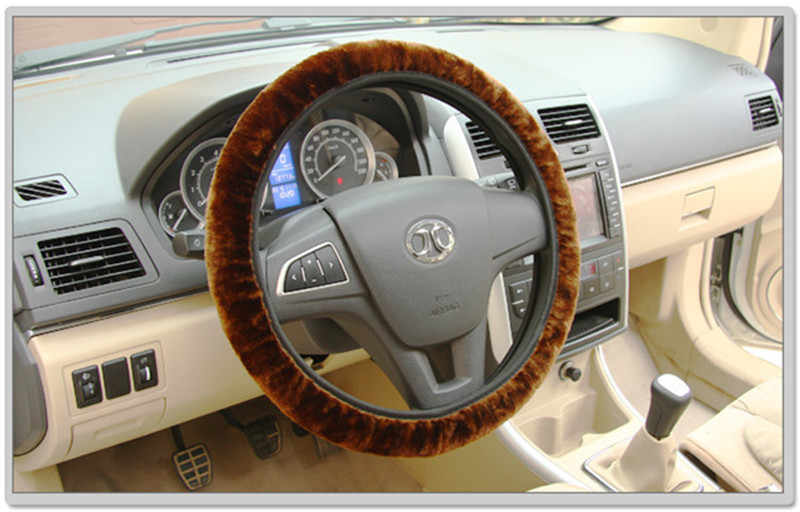 الدافئة أفخم الشتاء سيارة التوجيه-أغطية الاطارات فو الفراء مطاطا العالمي غطاء عجلة القيادة لوازم السيارات السيارات قطر 38 سنتيمتر