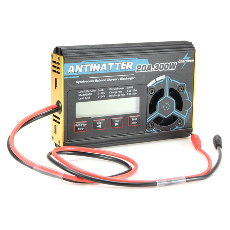 High Quality Charsoon Antimatter 300W 20A Balance Charger Discharger For LiPo NiCd PB Battery With Connector Charge Lead For RC rc model airplane parts lipo battery balance charger pl8 pl6 icharger 4 way xt60 plug parallel charge board dual xt90 connector