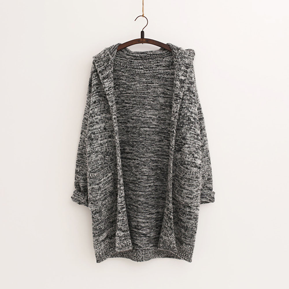 Hooded Casual Pocket Long Sweaters Autumn Winter Long Sleeve Large ...