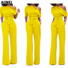Women Jumpsuit One Shoulder with Sashes Pockets Officewear Romper Combinaison Fa