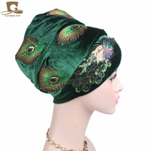 New Elegant Sequined Peacock Embroidery Extra Long Velvet Turban Head Wrap Nigerian Turban Stylish Head Scarf Women Africa Hijab