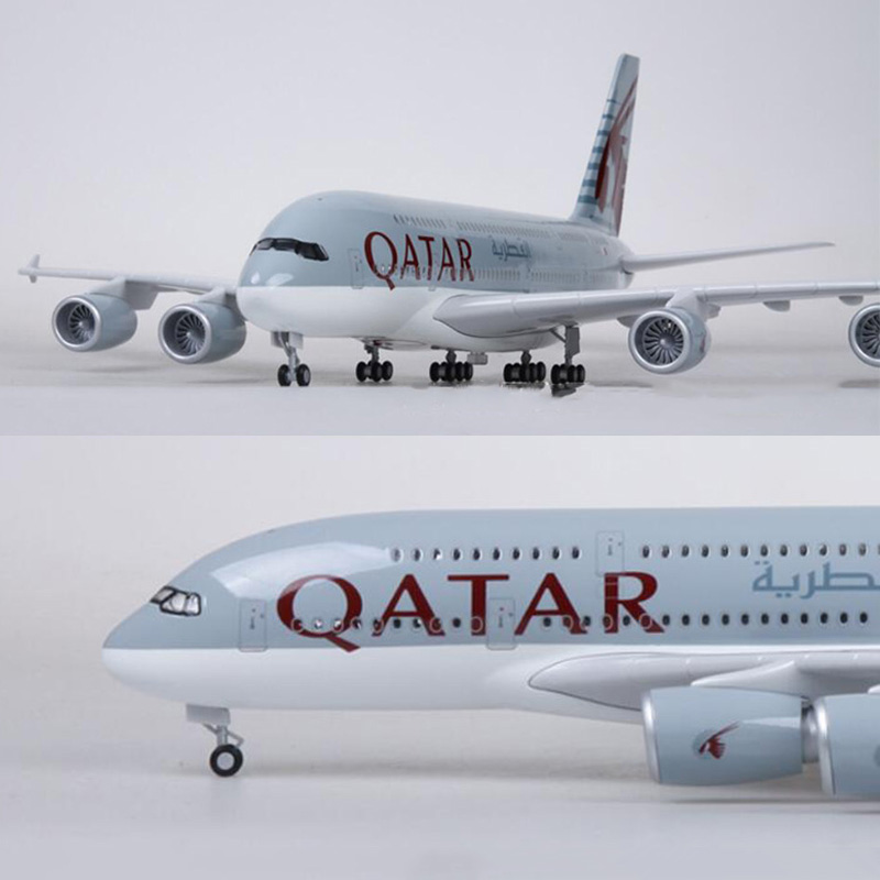 1/160 Scale 50.5CM Airplane Airbus A380 QATAR Airline Model W Light And Wheel Diecast Plastic Resin Plane For Collection
