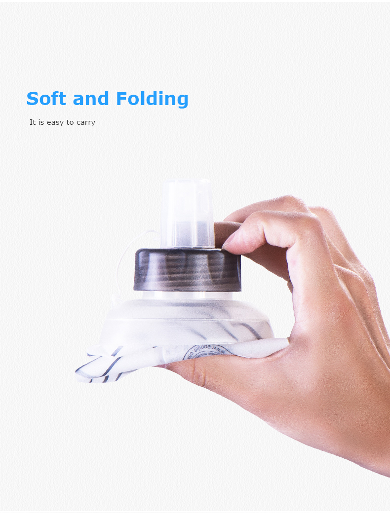Foto of soft and folding water's flask folding TPU for sport. Collapsible flask of water 500ml for hiking