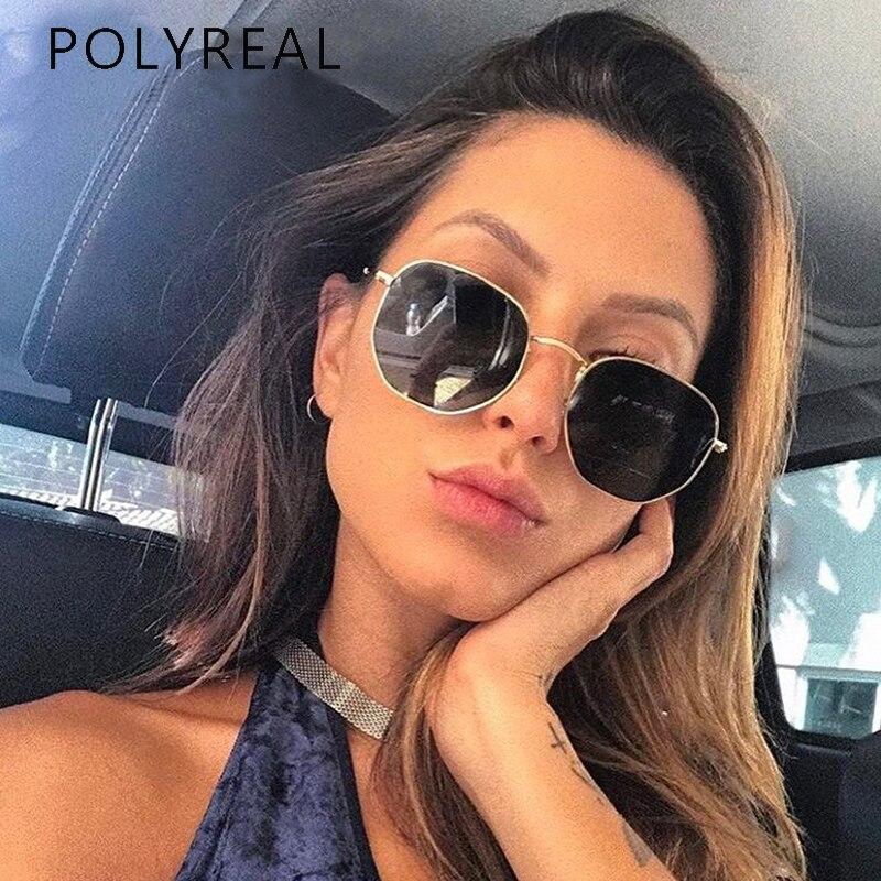 POLYREAL Hexagonal Clássico Polarizada Óculos De Sol Das Mulheres Designer de Marca de Moda Homens Condução Óculos de Sol Espelho Shades UV400 Unisex