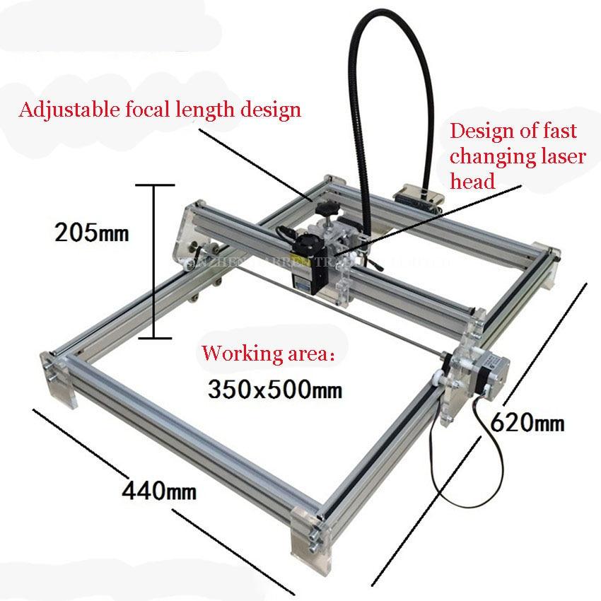 1000mW DIY Desktop Mini Laser Engraver Engraving Machine Laser Cutter Etcher 35X50cm Adjustable Laser Power