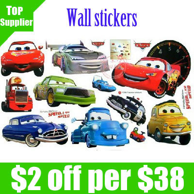 """Free Shipping 10pcs/lot12.8""""X8.8"""" Car Design Wall Decal/Wall Stickers/Kids Cute Home Docor/Cartoon Home Decoration"""