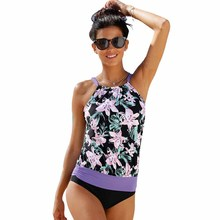 Women Two Piece Suits Plus Size Tankini Sexy Backless High Neck Floral Print Top with Hipster Bottoms Tankini Set Swimsuit Women tropical pineapple plus size surplice tankini set