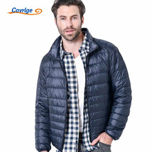 Covrlge Duck Down Jacket Men Solid Color Ultra Light Thin Plus Size Jackets 2019 AutumnWinter Stand Collar Outerwear Coat MWY024