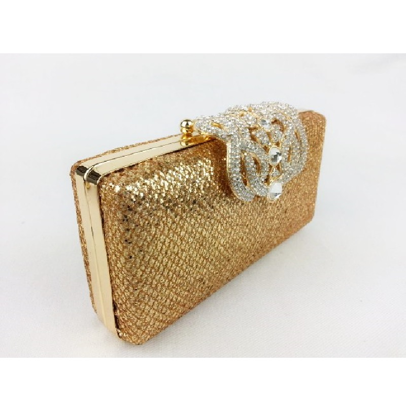 1409G GOLD Shimmery Dazzle fabric Lady fashion Wedding Bridal Party Evening purse clutch bag handbag case