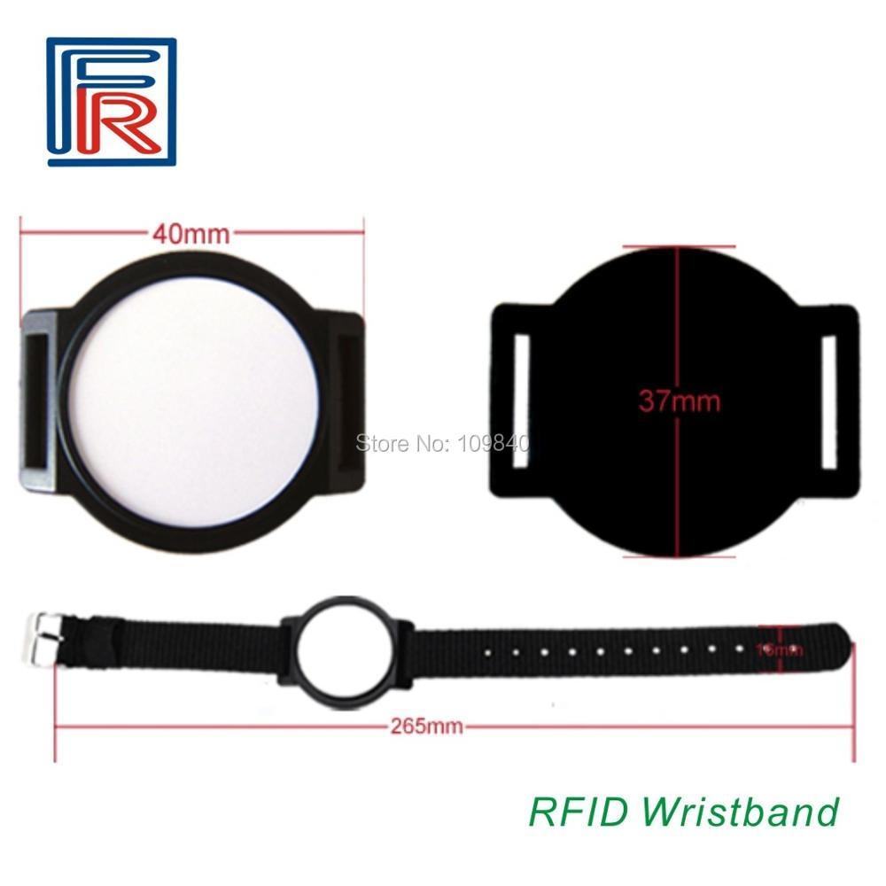 100pcs/lot Easy to use nylon bracelet Rfid adjustable wristband with 125KHz EM chip color options survival nylon bracelet brown