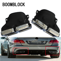 BOOMBLOCK 1Set For Mercedes Benz W222 W212 W205 R231 S65 S63 E63 Accessories Chrome 304 Stainless Steel Car Exhaust Muffler Tips