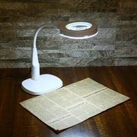 Standing Light Magnifier Foldable Table Magnifier Tools Lamp LED Lights Large 10x Lens Magnifying Glass with Steady Base