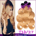 Hot Selling 3pcs/lot Brazilian Ombre Human Hair Body Wave T1b/27 Two Tone Honey Blonde Ombre Hair Bundles Free Shipping
