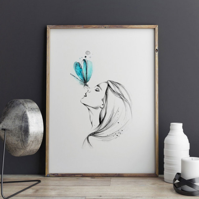 Girl With Butterfly Pencil Sketch Watercolor Painting Sweet Home Poster  Wall Art Decor Room Wall Hanging