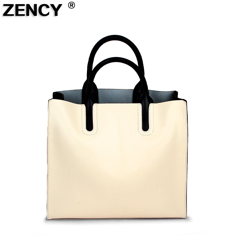 ZENCY Fashion Famous Brand Women Tote Shopping Bags Female Genuine Leather Woman Second Layer Cow Leather