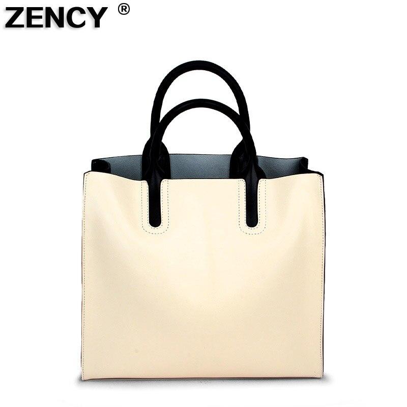 Zency الأزياء الشهيرة العلامة التجارية النساء حمل أكياس التسوق المرأة الثانية طبقة جلد البقر الكتف رسول حقيبة-في حقائب قصيرة من حقائب وأمتعة على  مجموعة 1