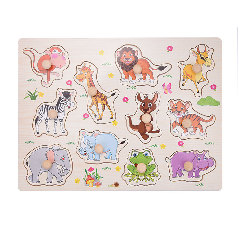 Wooden Animal Baby Children Puzzle Board Games Kids Intelligence Learning Games Child Gift