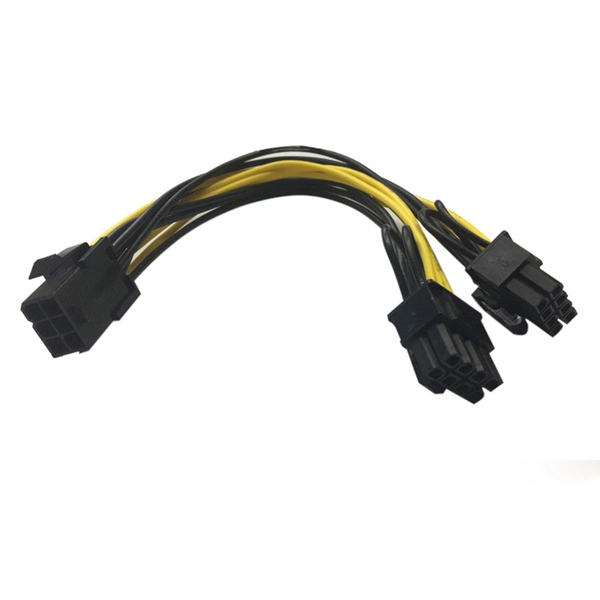 Hot Module 6Pin to Dual PCI-E PCIe 8Pin + 8Pin ( 6+2Pin ) Power Ribbon Cable Cord 20cm + 20cm for Thermaltake Tt 650 W0163 PSU free shipping atx pci e pci express pcie 6pin to 5pcs dc 5 5x2 1mm plugs of gridseed mini 60cm power cord cable