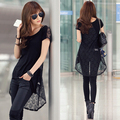 Spring Summer T-shirt  Sexy female irregular sweep short-sleeve Lady Novelty Thin Dance See-through Lace Patchwork Black