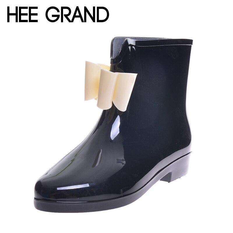 6ca042c80839f HEE WIELKI Śliczne Krótki Łuk Bowknot Deszcz Buty Gumowe Płaskie Pięty  Kostki Rainboots Moda Kalosze Rainshoes 36-40 XWX431