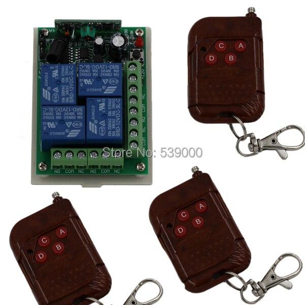 DC 12V 315/433MHZ 4 CH 4CH RF Wireless Remote on-off remote Control Switch Limiter 3pcs Transmitter + 1pcs Receiver miti rf wireless remote control switch remote on off systerm transmitter receiver smart house sku 5140