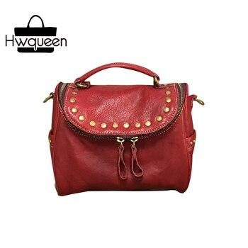 Vintage Rivets/Studs Designer Genuine Soft Cow Leather Women's Small Claret-red Doctor Bag Handbag Female Ladies Shoulder Bag