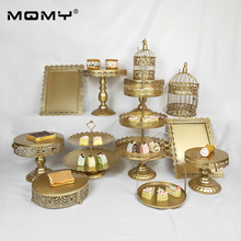 1Pcs/Set White Gold Silver Crystal Metal Cake Stand Cupcake Dessert for Party Wedding