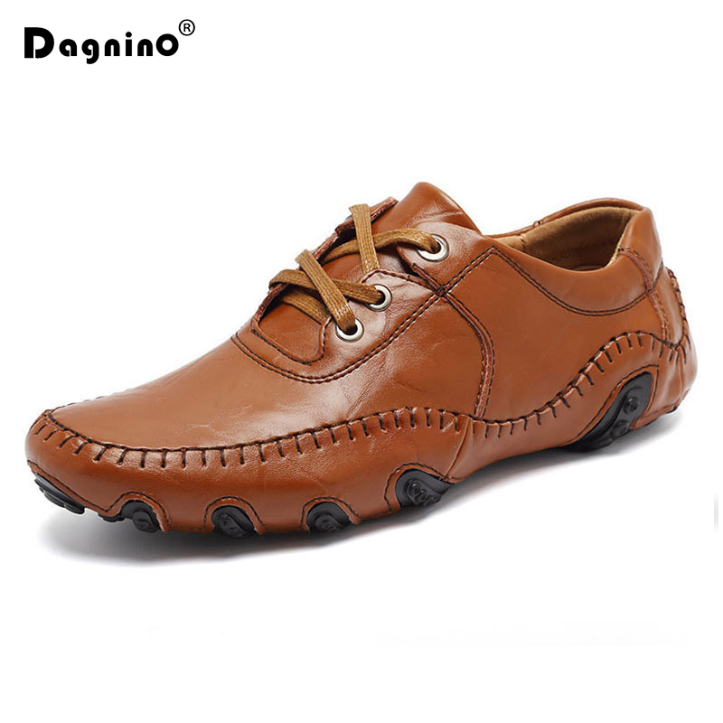 DAGNINO Hot Sale Autumn Winter Fur Men Casual Shoes Male Adult Genuine Leather Brand Walking Driver Quality Footwear Man Loafers vesonal 2017 quality mocassin male brand genuine leather casual shoes men loafers breathable ons soft walking boat man footwear