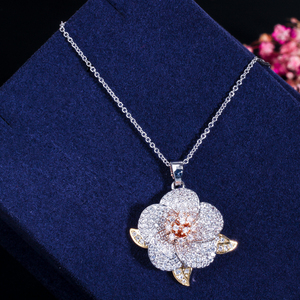 Image 3 - CWWZircons 3 Tone Rose Gold Full Micro Pave Cubic Zirconia Ladies Flower Pendant Necklace and Earrings Jewelry Sets T063