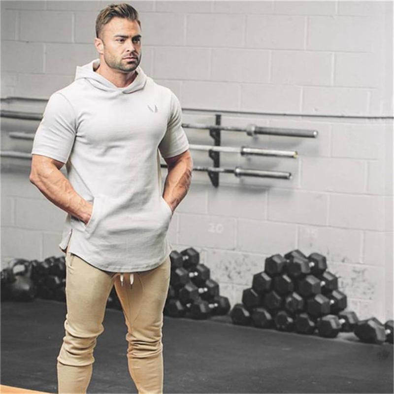 Brand Mens Short Hoodies Fashion pullover leisure coat gyms Fitness bodybuilding jacket Sweatshirt male sportswear clothing