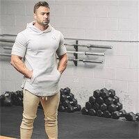 Brand Men Short Sleeve Hoodie Fashion Pullover Leisure Coat Fitness Bodybuilding Jacket Sweatshirt Muscle Men Sportswear