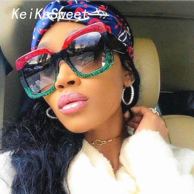 bcb9bef72949 KeiKeSweet New Luxury Brand Designer Oversized Big Women Mirror Sexy Clear Sunglasses  Lady Red Green Shades Crystal Sun Glasses