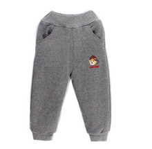 2016 New boys Pants Girls Pants 100% cotton kids Leisure trousers fleece pants plus velvet thicken winter casual pants