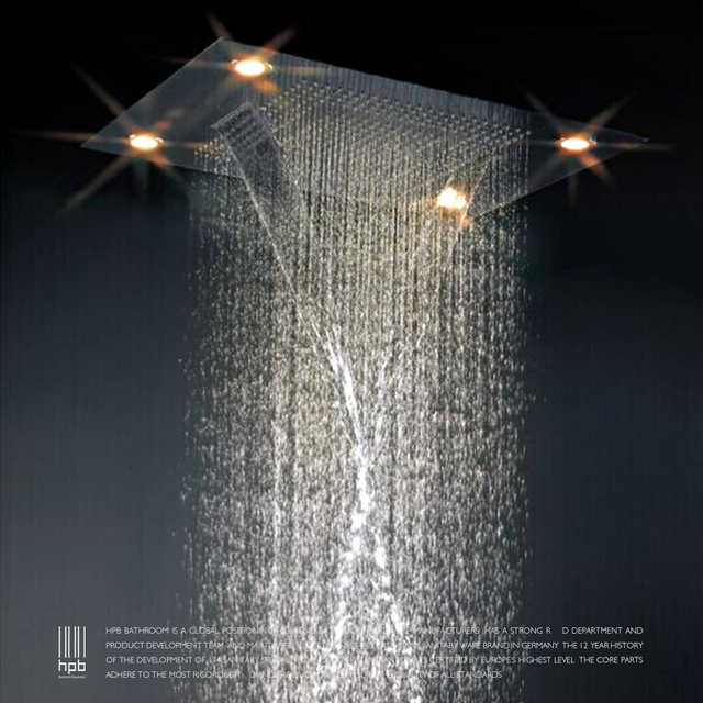 HPB Large Rain Shower Set Recessed Ceiling Waterfall LED Mount  Multifunction Shower Head Bath U0026 Shower