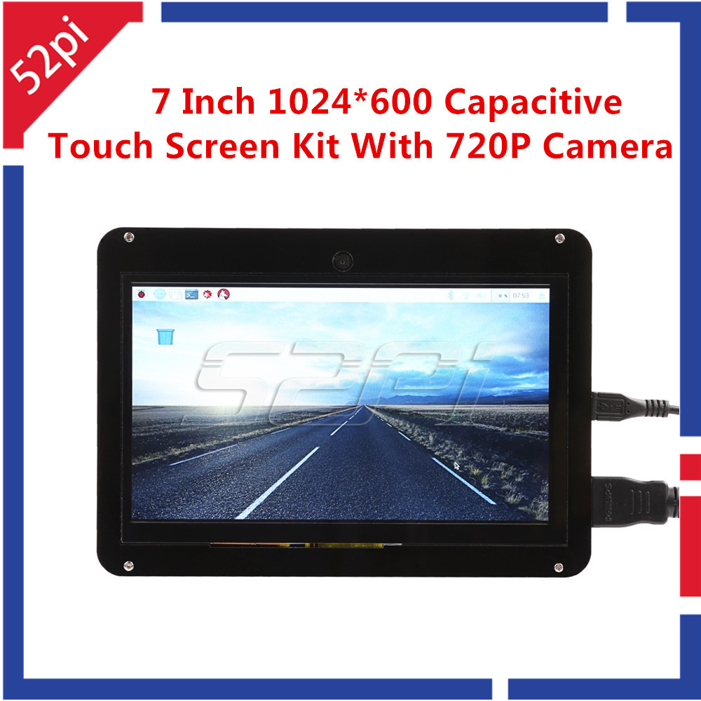 52Pi Free Driver 7 inch 1024x600 Capacitive Touch Screen Display Kit with 720P Camera for Raspberry Pi/Windows/Beaglebone Black