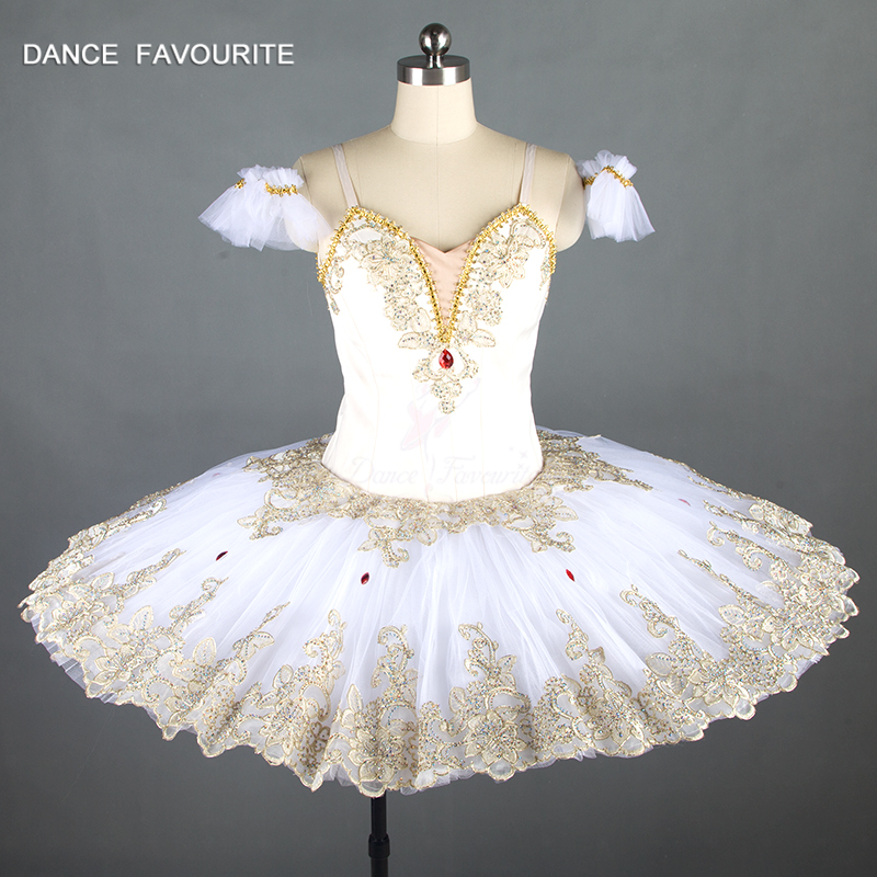New sleeping beauty variation professional ballet tutus cream white and gold classical ballet costume women Raymonda tutu dress