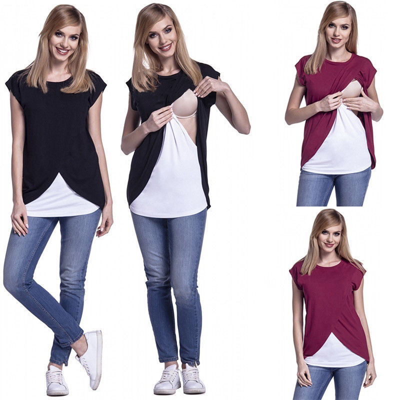 все цены на 2018 New Summer Women Pregnant Maternity Nursing T Shirts Women Breastfeeding breast feeding Clothes Short Sleeve Tops Shirt Tee онлайн