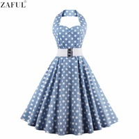 ZAFUL Women Plus Size L 4XL Vintage Swing Dress Stretchy Cotton Sleeveless Halter Belts Rockabilly Prom