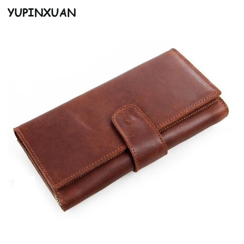 YUPINXUAN Europe Designer Zippers Wallets Men Brown Handmade Real Leather Purse Retro Money Clips Small Coin Bags Many Pockets ножовка садовая grinda 8 151853 z01
