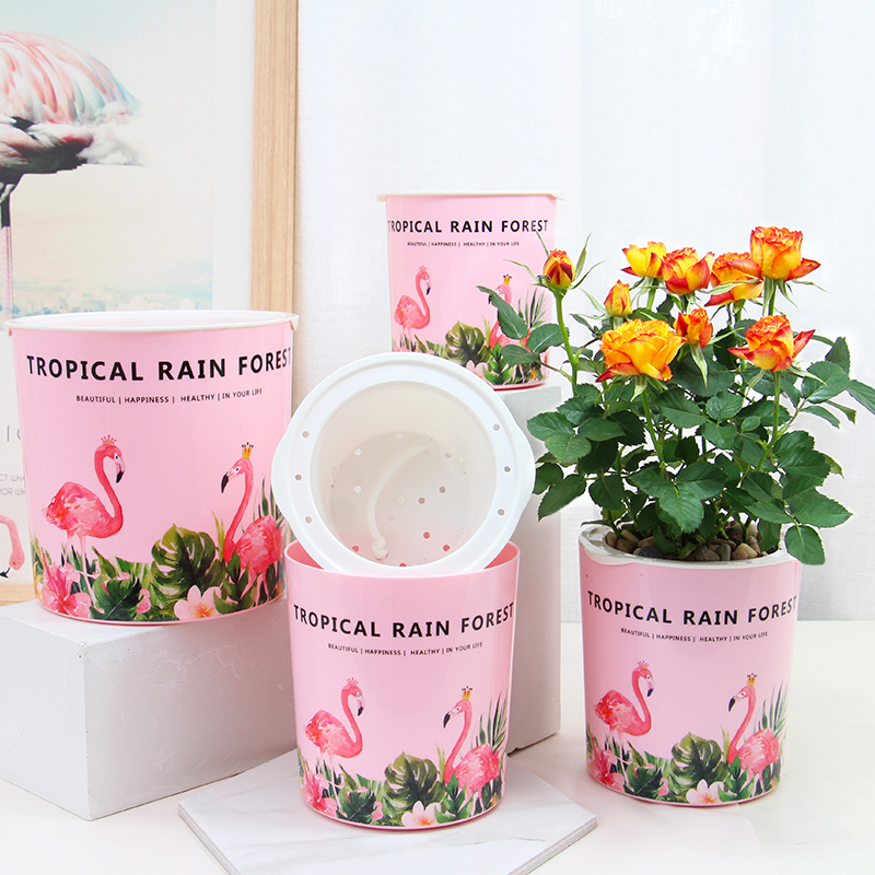 Flamingo Pattern Automatic Self Watering Flower Plants Pot Put In Floor Irrigation For Garden Gardening Flower Pots